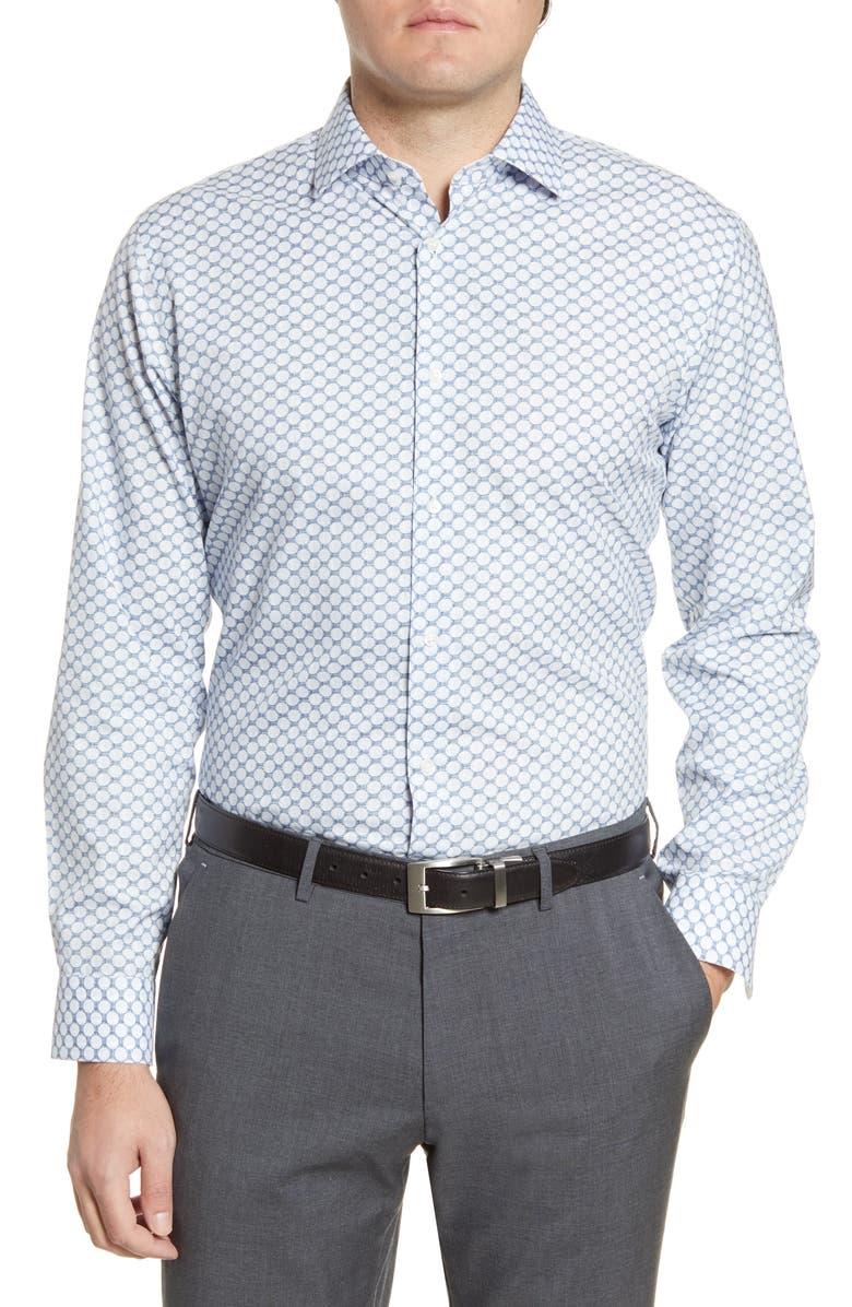 NORDSTROM MEN'S SHOP Trim Fit Non-Iron Dot Dress Shirt, Main, color, NAVY BLUE ART DOTS