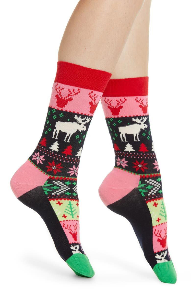 HAPPY SOCKS Fair Isle Socks, Main, color, PINK/ MULTI