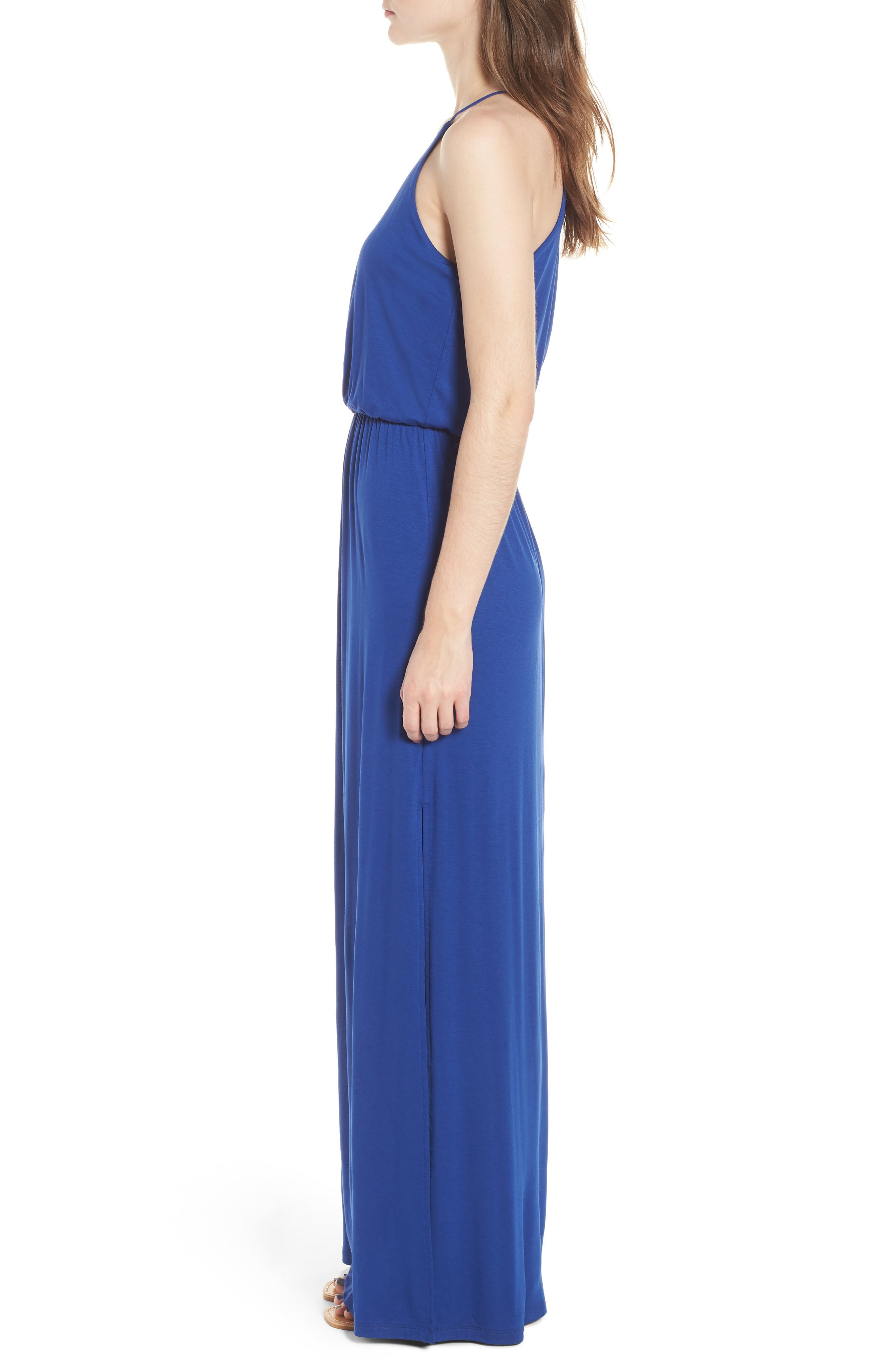 ,                             High Neck Maxi Dress,                             Alternate thumbnail 3, color,                             408