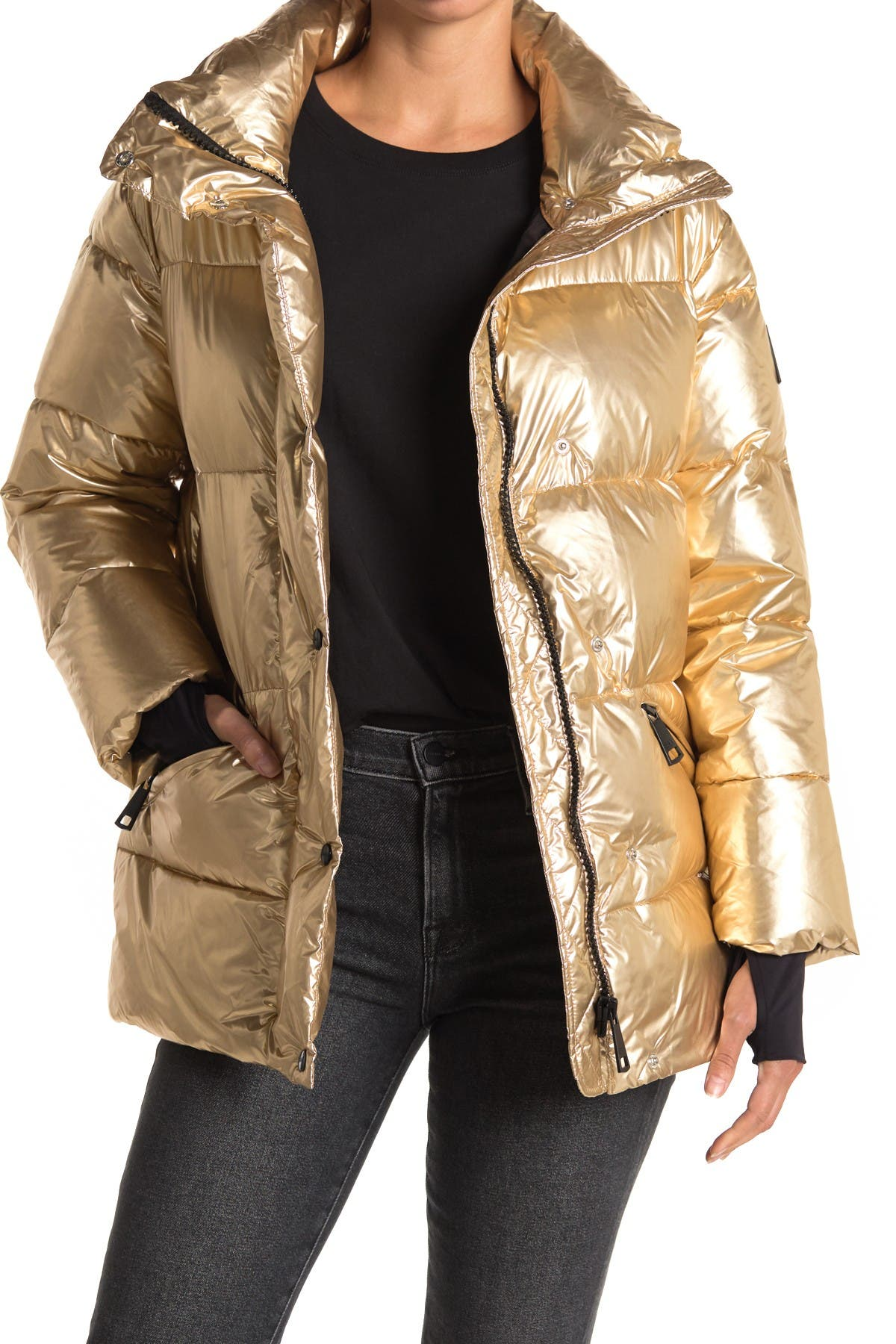 Image of SAM Zoe Metallic Down Puffer Jacket