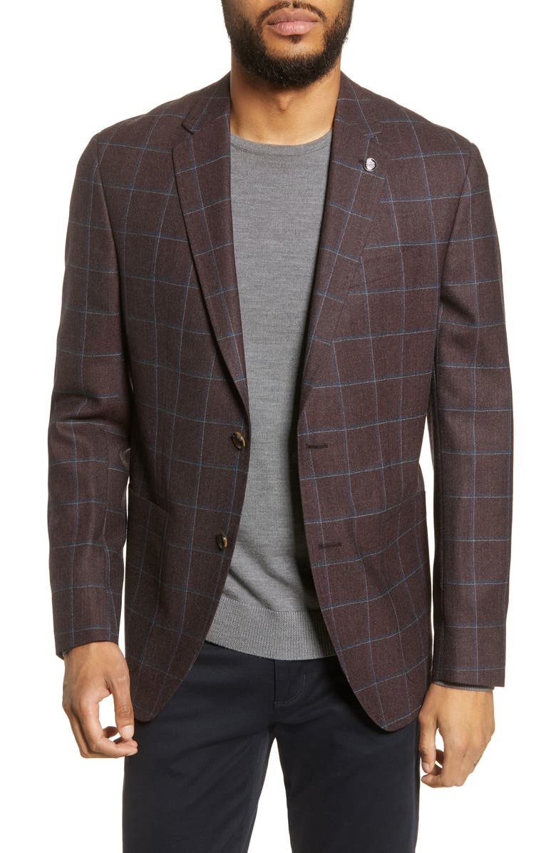 TED BAKER LONDON Kyle Windowpane Wool Sport Coat, Main, color, BORDEAUX