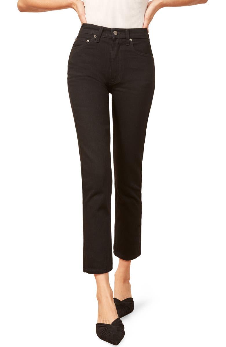 REFORMATION Julia Crop High Waist Cigarette Jeans, Main, color, 001