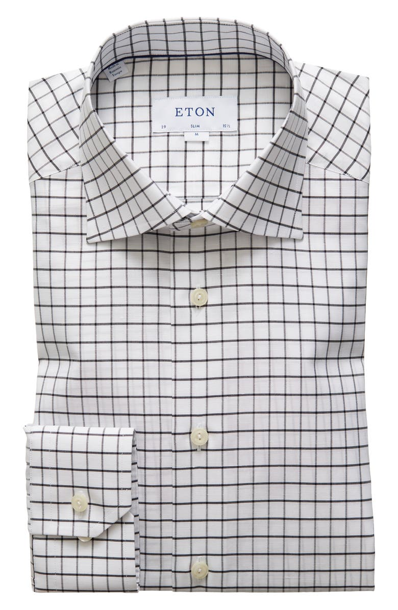 ETON Slim Fit Windowpane Dress Shirt, Main, color, 001