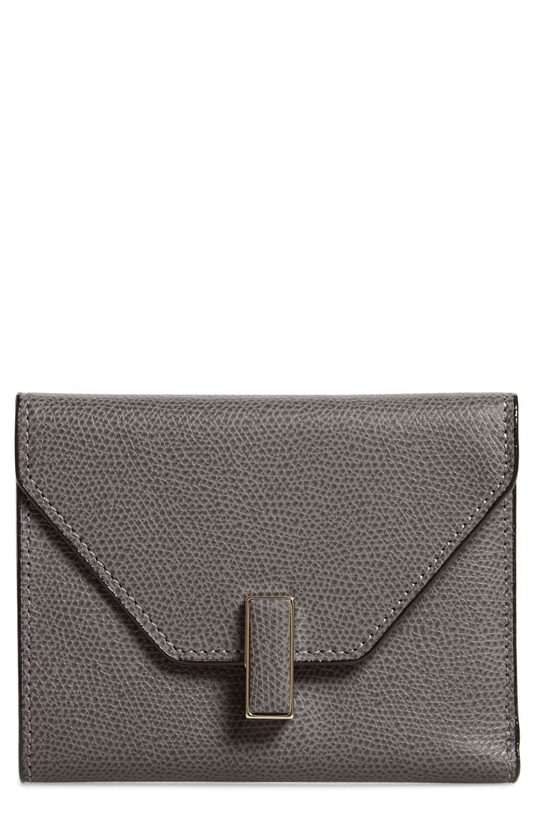 VALEXTRA Iside Leather Trifold Wallet, Main, color, FUMO DI LONDRA