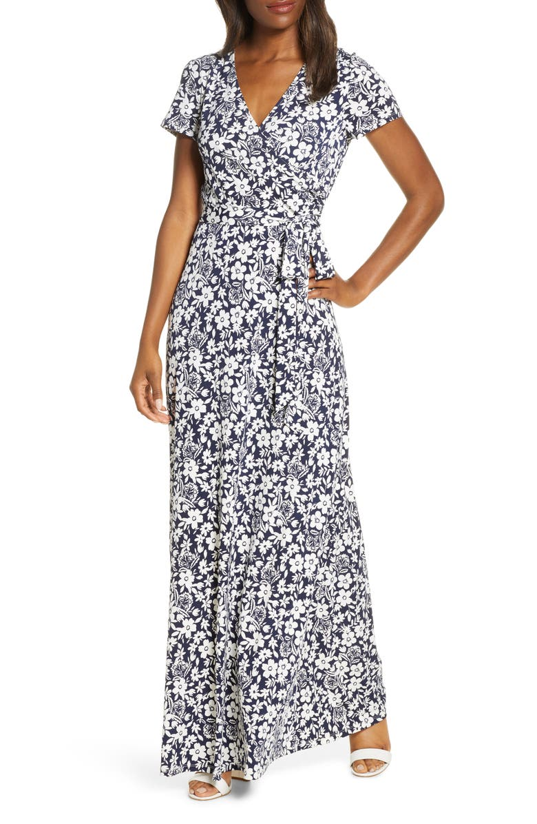 ELIZA J Floral Print Maxi Dress, Main, color, NAVY/ IVORY