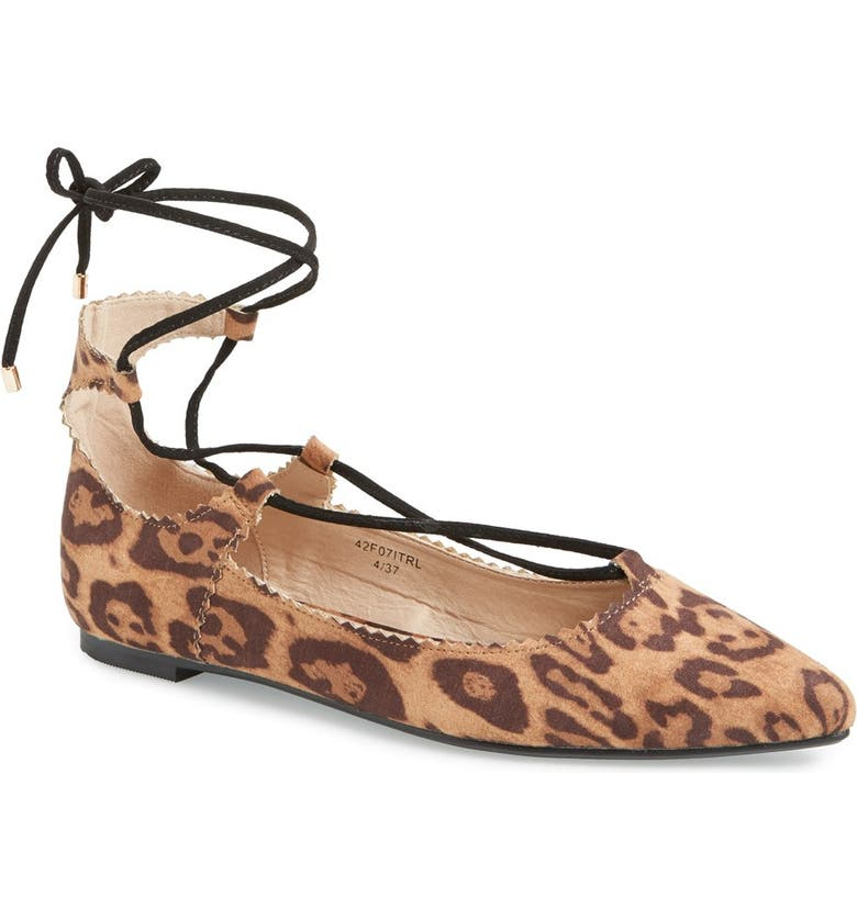 TOPSHOP 'Finest' Pointy Toe Ghillie Flat, Main, color, 200