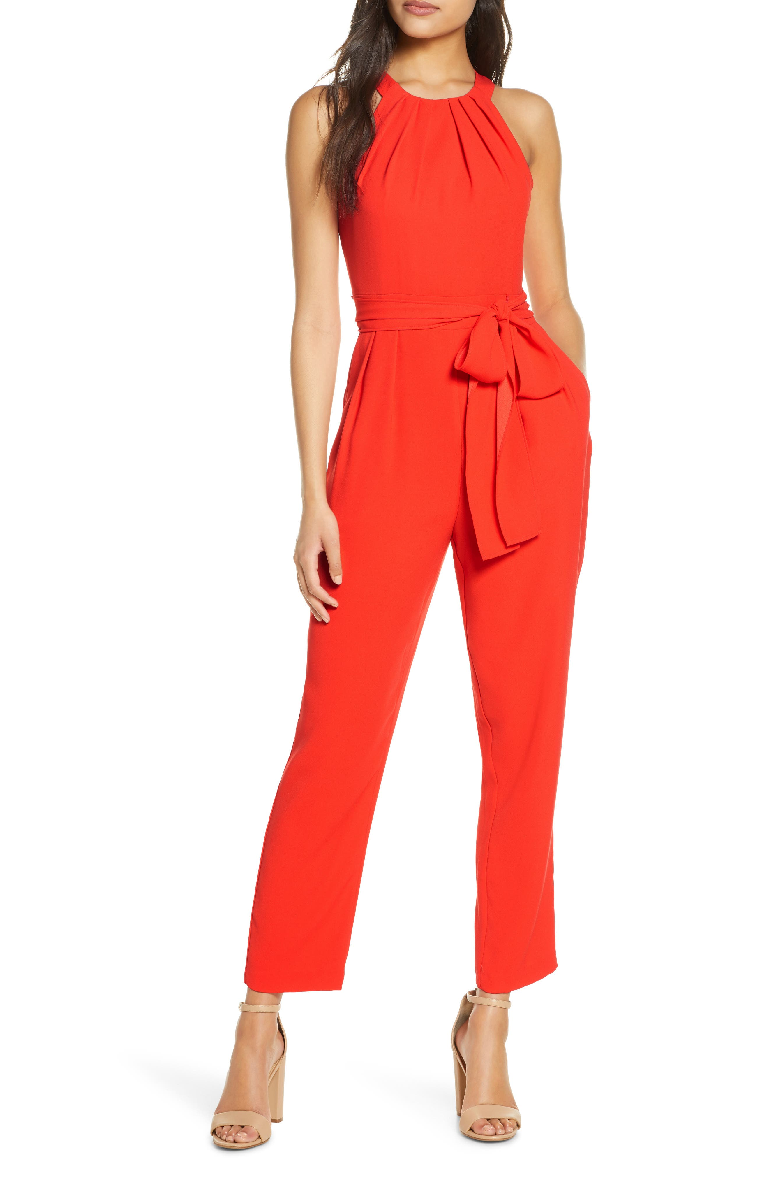 A generous tonal sash adds a pretty accent at your waist in this color-saturated halter jumpsuit with convenient side pockets. Style Name: Eliza J Halter Jumpsuit. Style Number: 6017790. Available in stores.