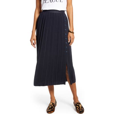 1901 Pleated Sweater Skirt, Blue