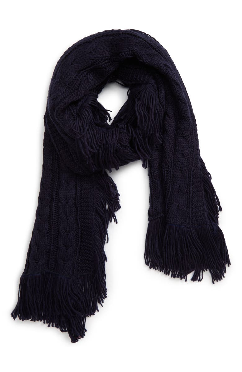 BP. Cable Knit Fringe Scarf, Main, color, NAVY PEACOAT