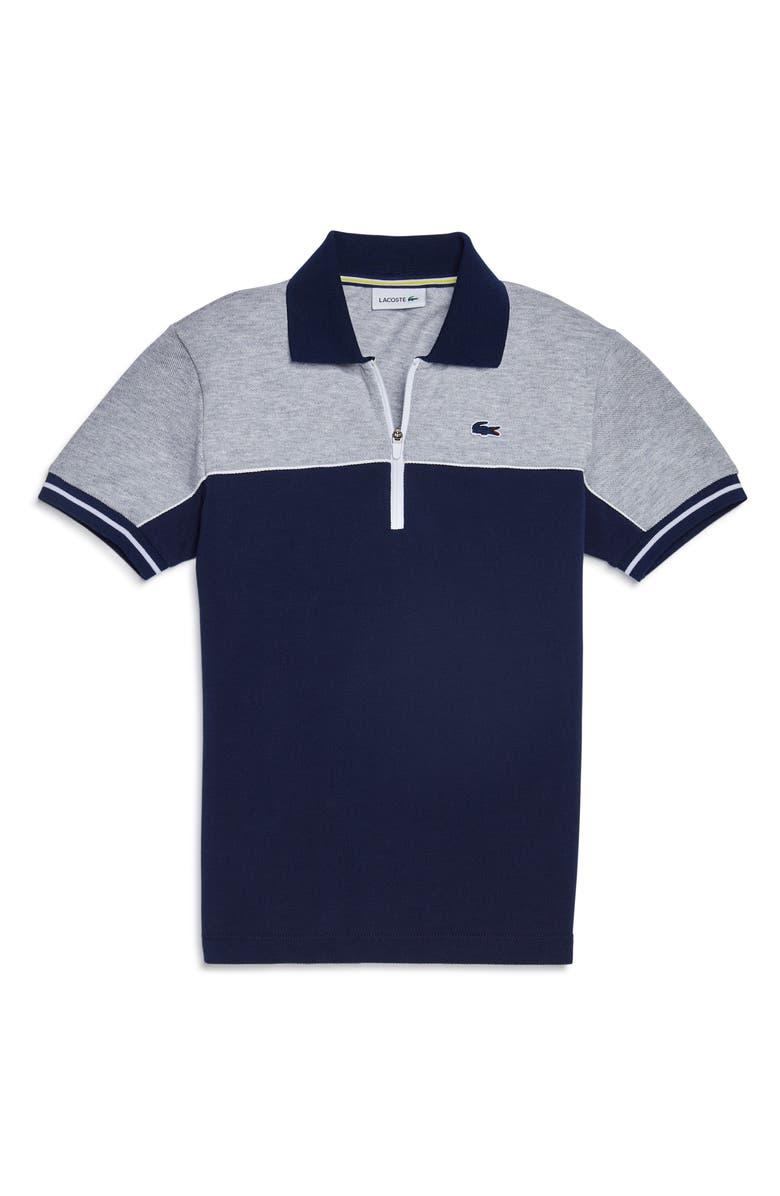 LACOSTE Colorblock Zip Cotton Piqué Polo Shirt, Main, color, SILVER CHINE/ NAVY