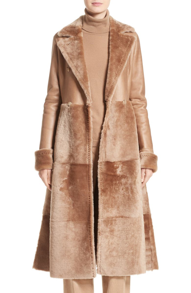 MAX MARA Rimini Genuine Shearling Coat, Main, color, CAMEL