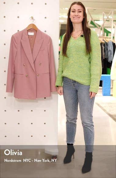 Jericoa Stretch Wool Double Breasted Blazer, sales video thumbnail