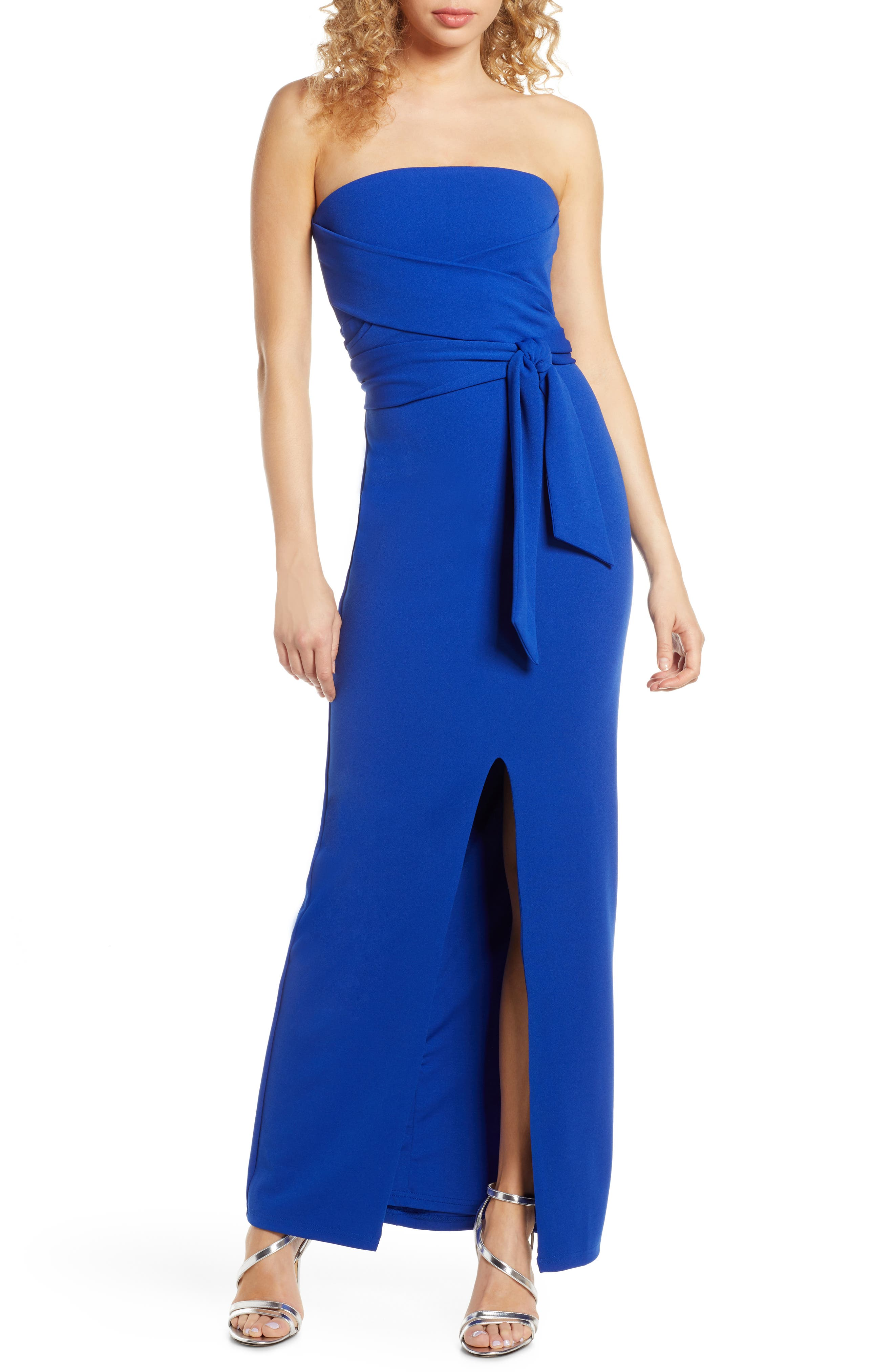 Lulus Own The Night Strapless Maxi Dress, Blue