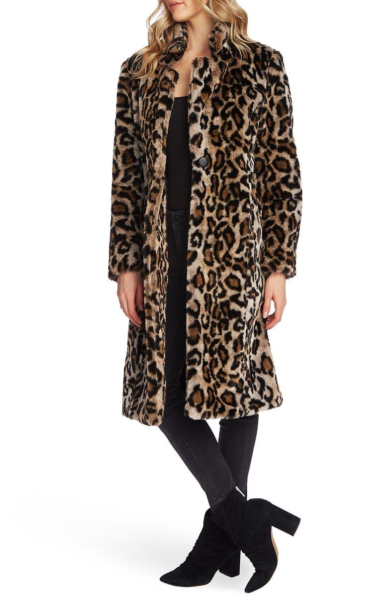 VINCE CAMUTO Cheetah Faux Fur Coat, Main, color, RICH BLACK