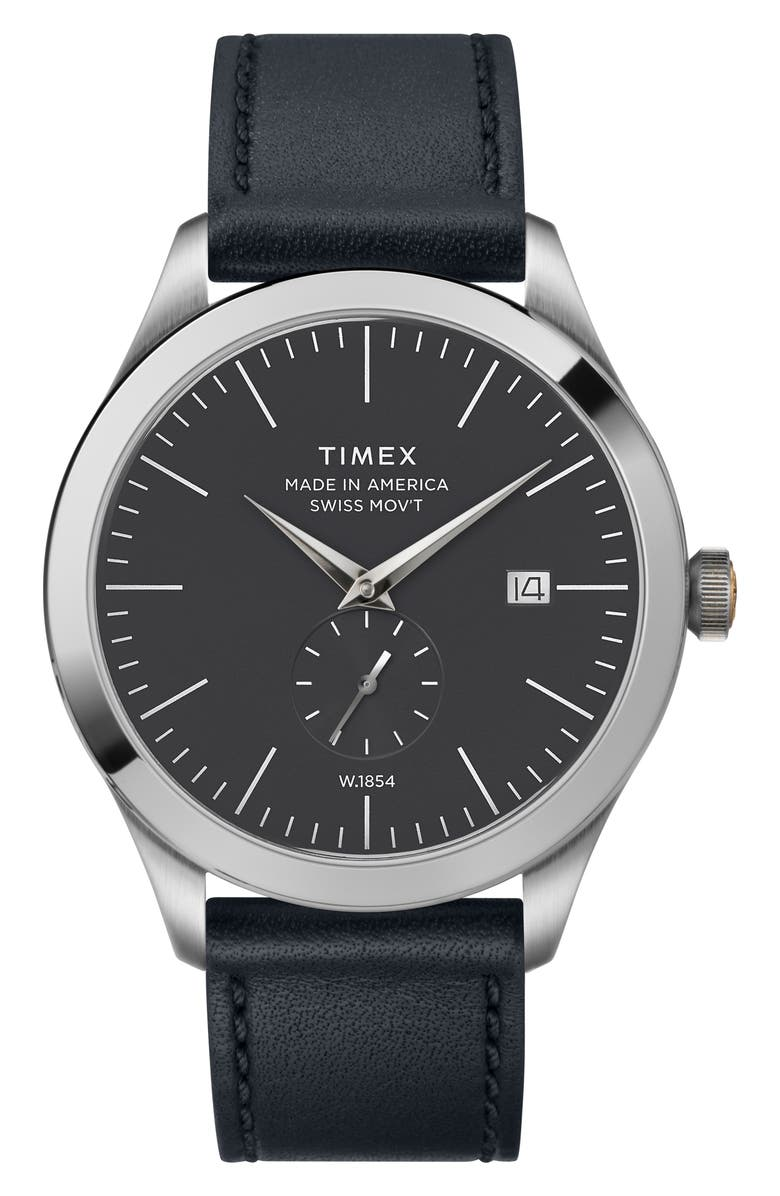 TIMEX<SUP>®</SUP> American Documentation Leather Strap Watch, 41mm, Main, color, NAVY/ BLACK/ SILVER