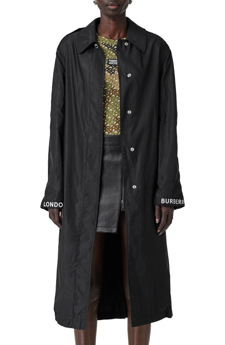BURBERRY Padstow Car Coat, Main, color, BLACK