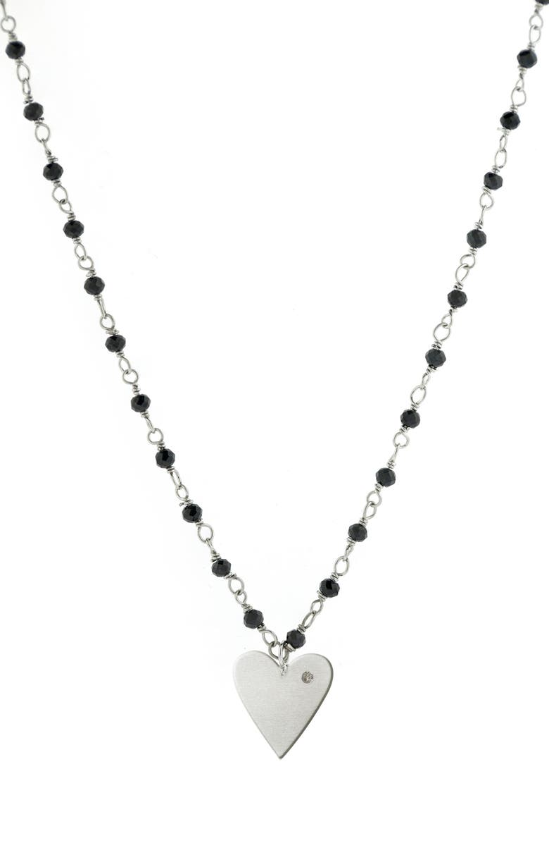 ADORNIA Rosary Heart Pendant Necklace, Main, color, SILVER