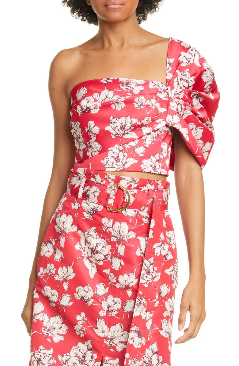 AMUR Lucia Floral One-Shoulder Crop Top, Main, color, RASPBERRY WILD ROSE
