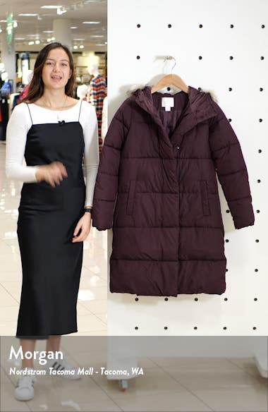 Hooded Puffer Coat with Faux Fur Trim, sales video thumbnail