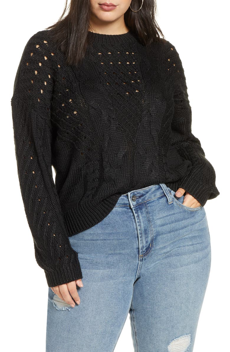BP. Spring Cable Sweater, Main, color, BLACK