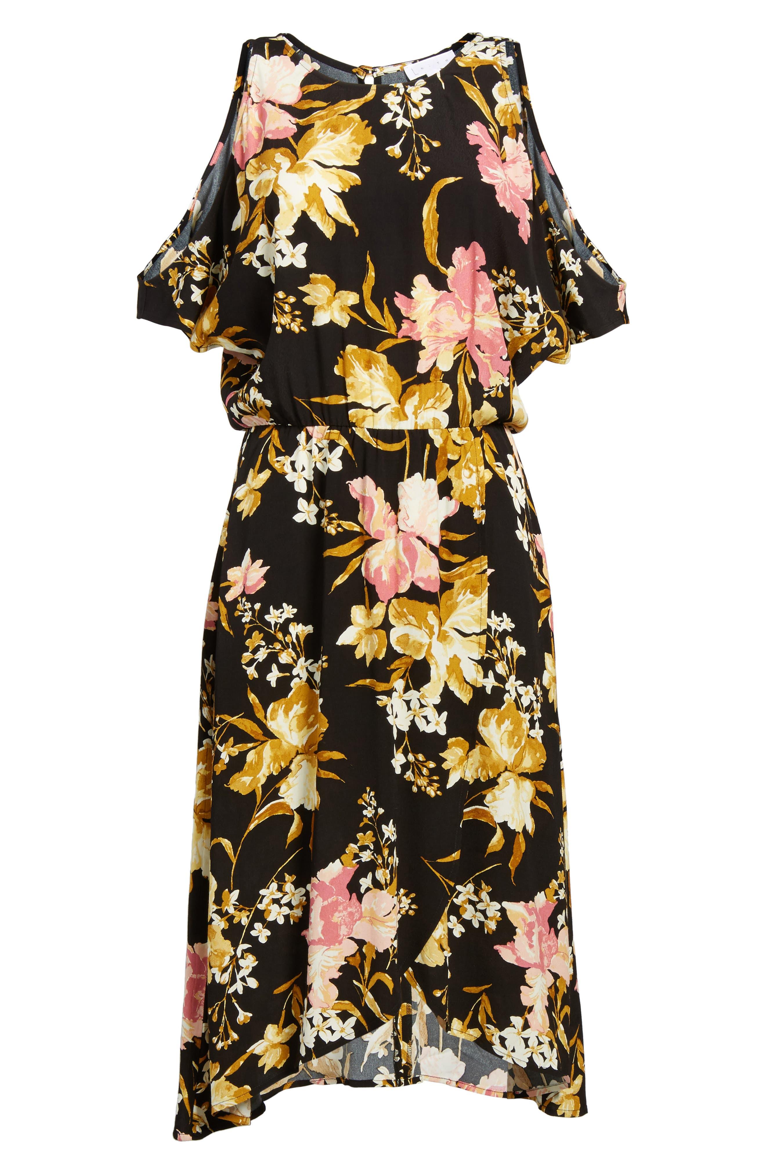 ,                             Cold Shoulder Midi Dress,                             Alternate thumbnail 6, color,                             001