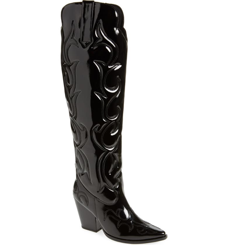 JEFFREY CAMPBELL Amigos Over the Knee Western Boot, Main, color, BLACK