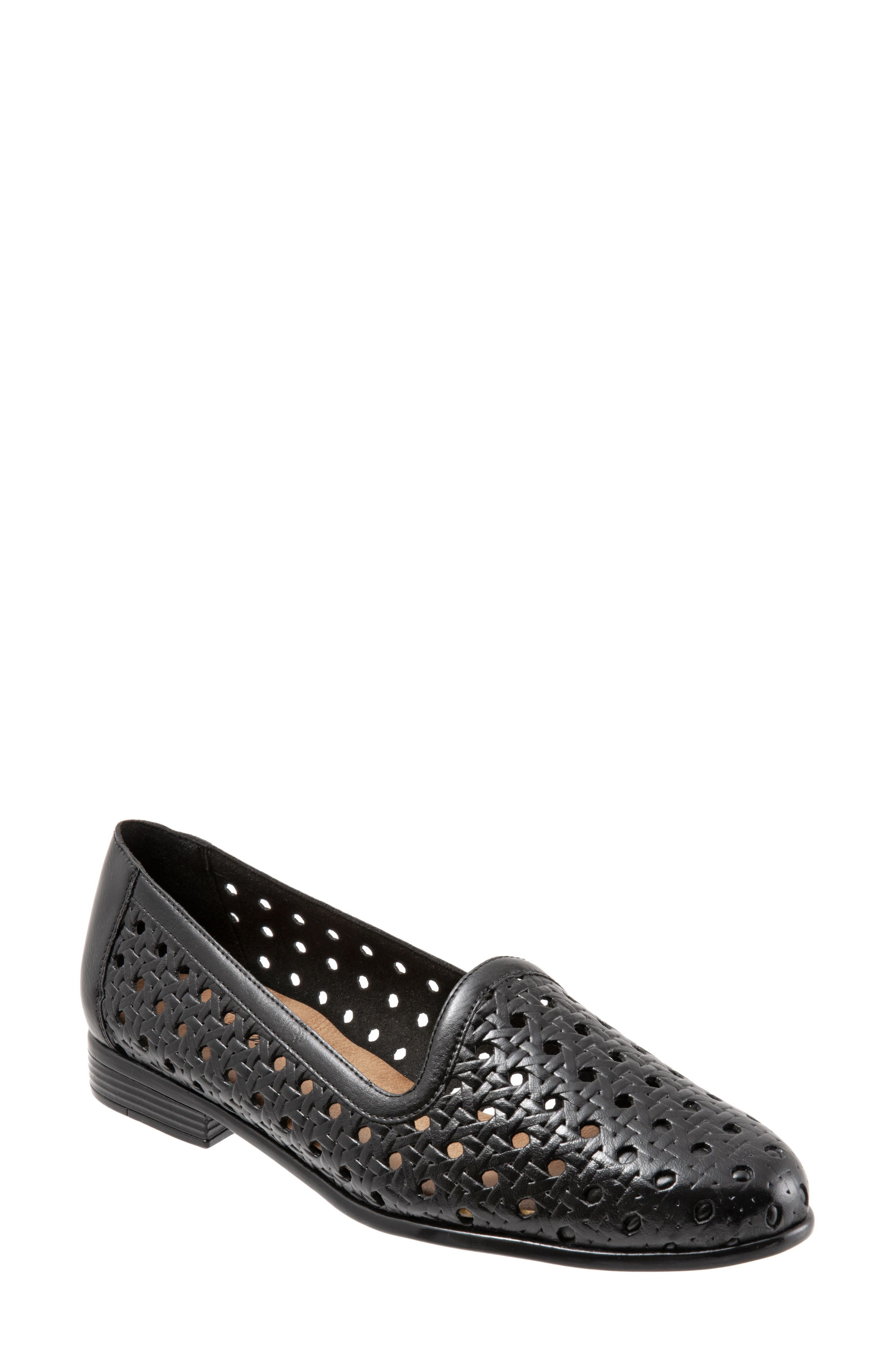 Liz Woven Loafer Flat, Main, color, BLACK/ BLACK LEATHER