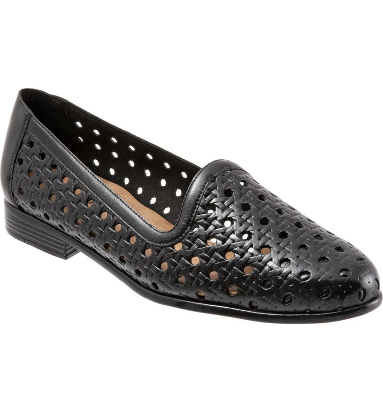 TROTTERS Liz Woven Loafer Flat, Main, color, BLACK/ BLACK LEATHER
