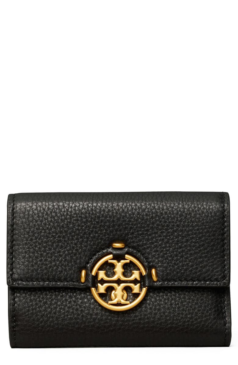 TORY BURCH Miller Medium Trifold Leather Wallet, Main, color, BLACK