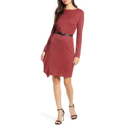 Sam Edelman Asymmetrical Ruffle Long Sleeve Knit Dress, Red