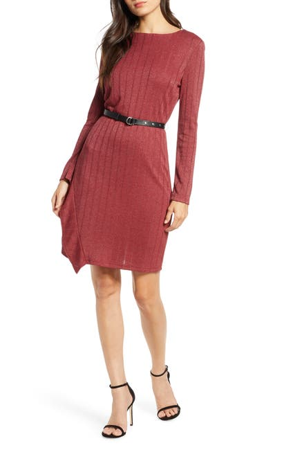 Image of Sam Edelman Belted Long Sleeve Sheath Dress