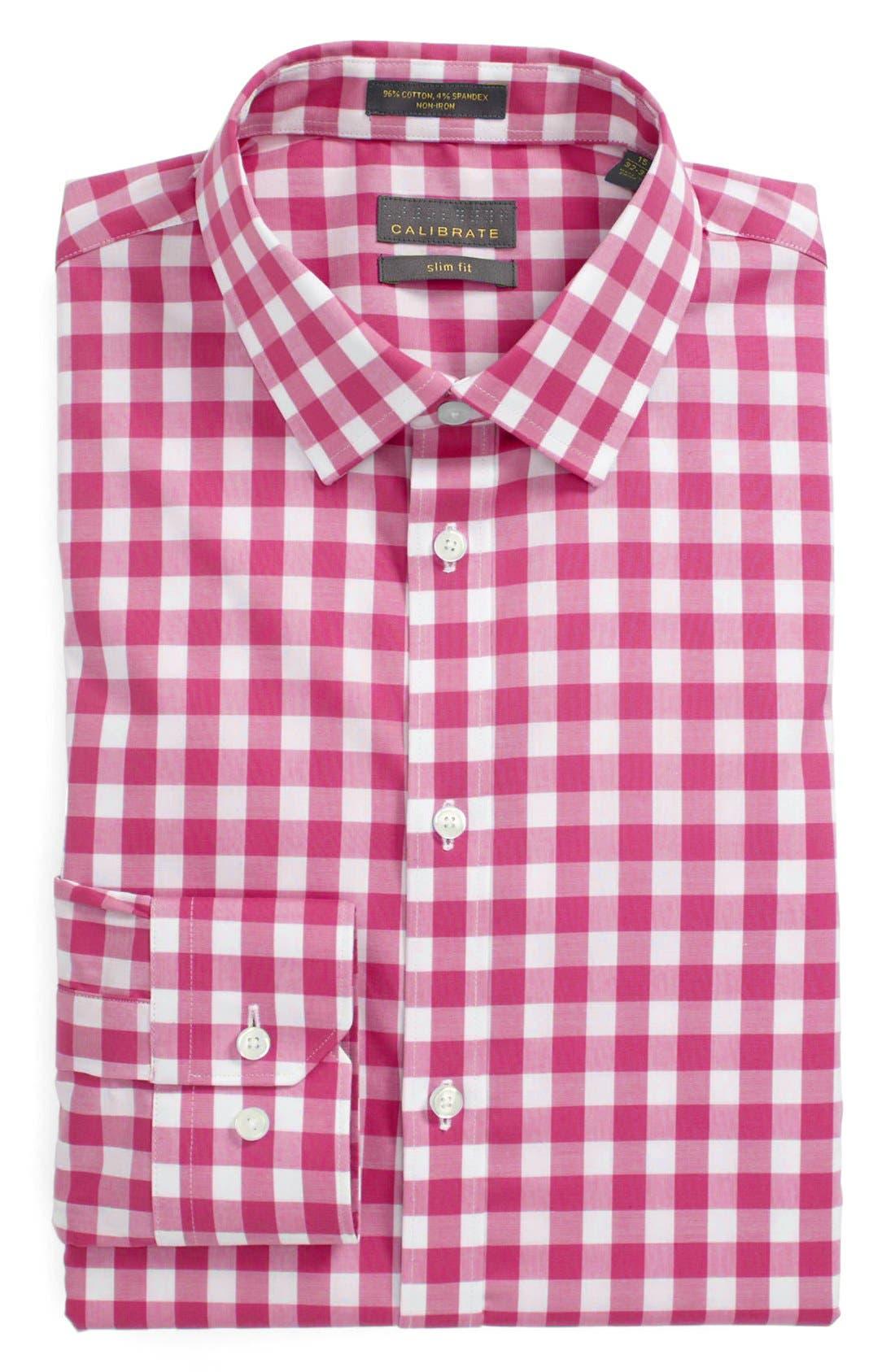 ,                             Slim Fit Non Iron Gingham Dress Shirt,                             Main thumbnail 27, color,                             651