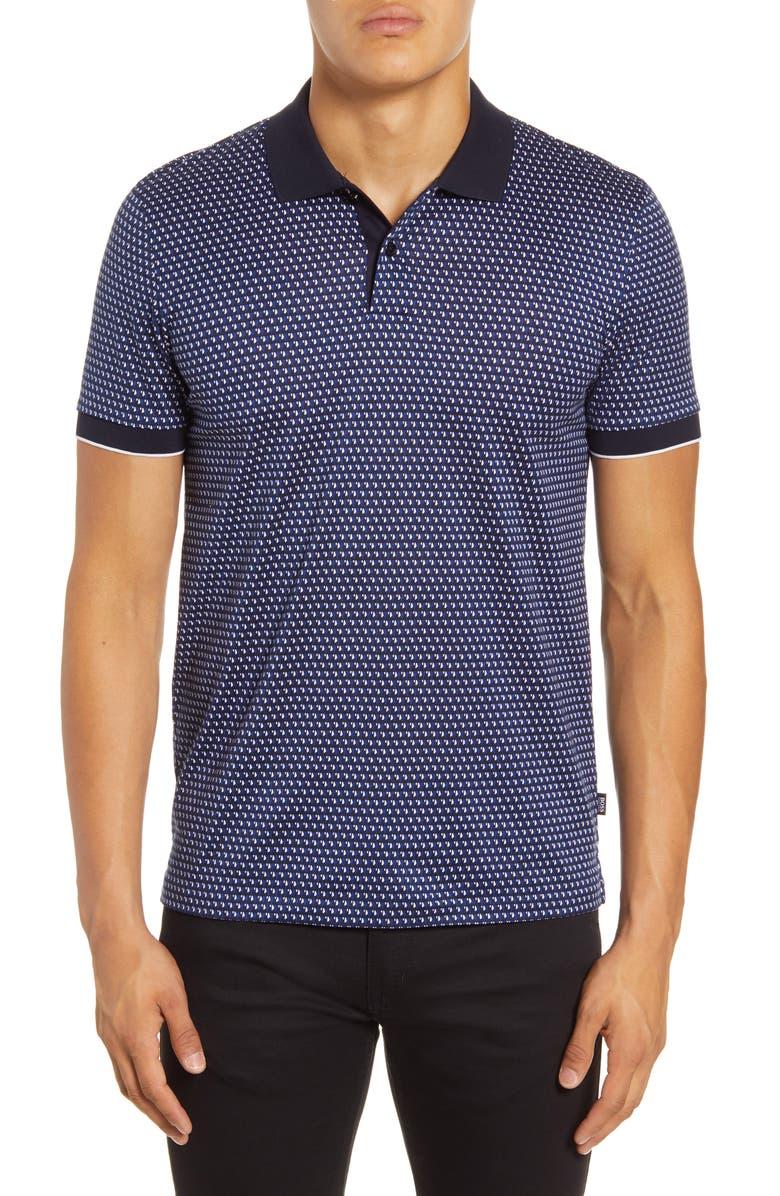 BOSS Phillipson 63 Slim Fit Polo Shirt, Main, color, DARK BLUE