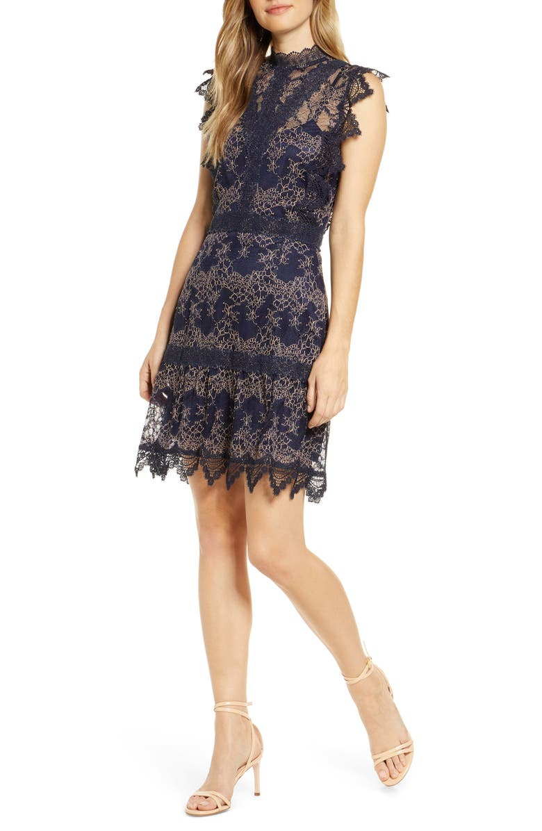 ADELYN RAE Madeline Mock Neck Lace Cocktail Dress, Main, color, NAVY-BLUSH