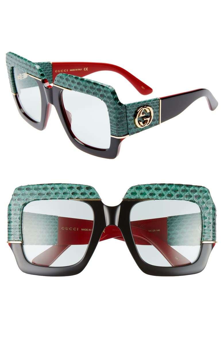 GUCCI 54mm Genuine Snakeskin Embellished Square Sunglasses, Main, color, SHNY BILY SOLID BLK/RED W/GRN