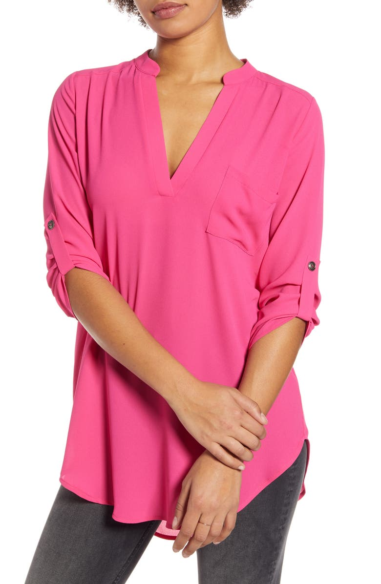 ALL IN FAVOR Perfect Henley Tunic, Main, color, PINK YARROW