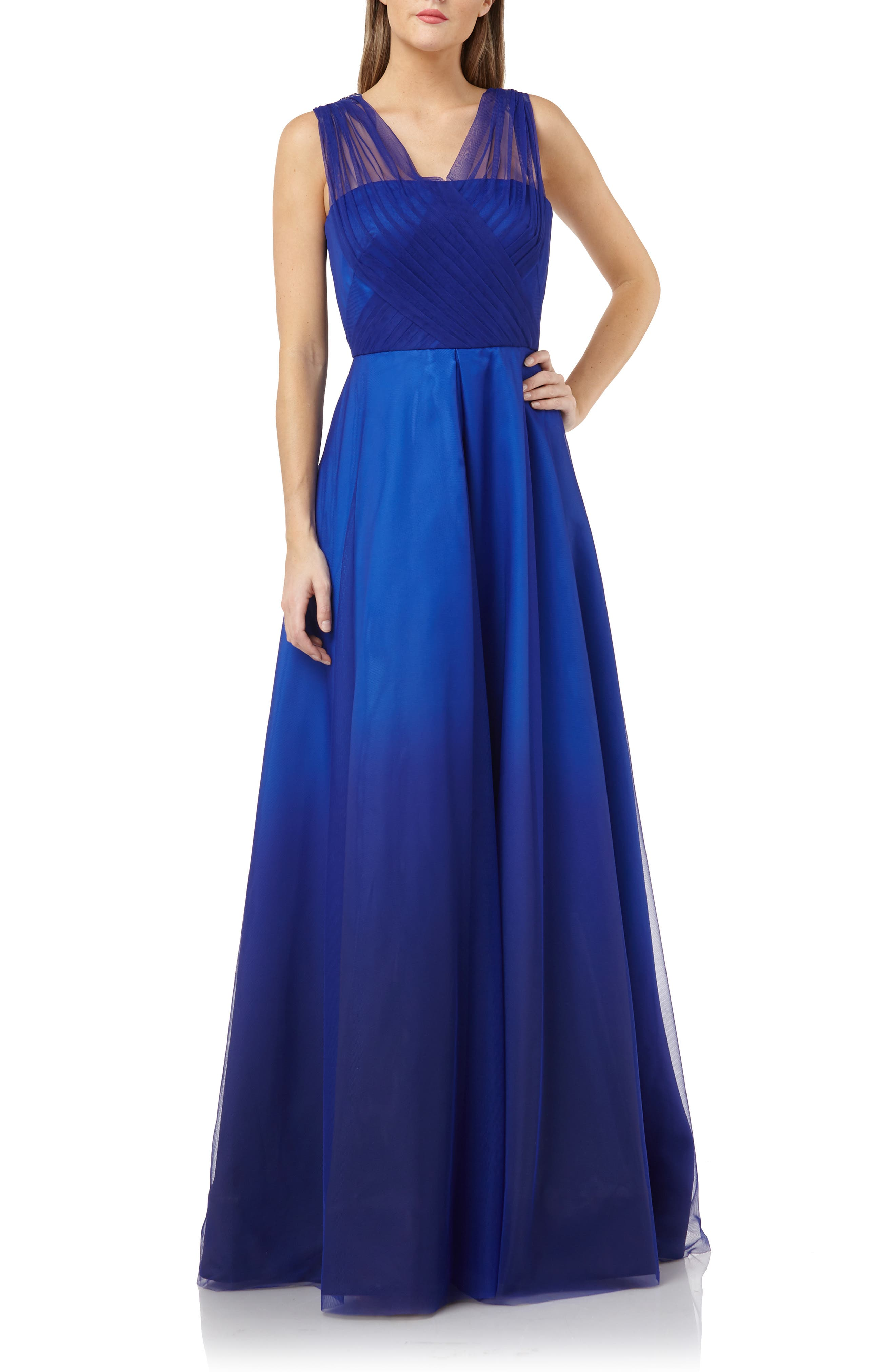 Carmen Marc Valvo Infusion Ombre Tulle & Mikado Gown, Blue