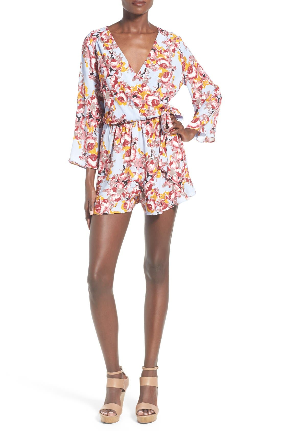 ,                             ASTR Floral Surplice Romper,                             Main thumbnail 7, color,                             400