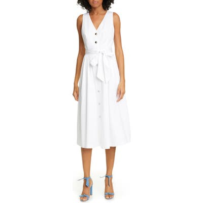 Ted Baker London Ryylie Button-Up Tie Front Cotton Midi Dress