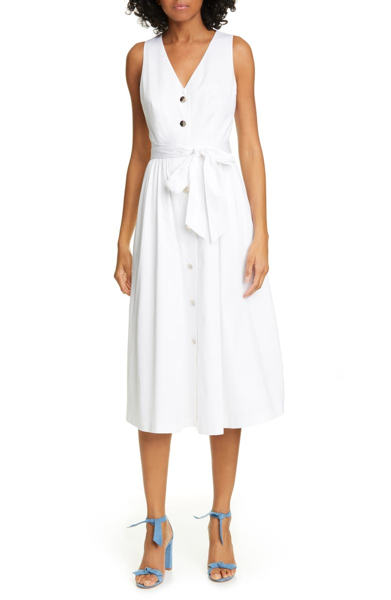 TED BAKER LONDON Ryylie Button-Up Tie Front Cotton Midi Dress, Main, color, WHITE