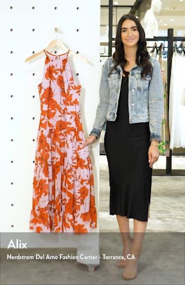 Floral High Neck Tiered Chiffon Midi Dress, sales video thumbnail