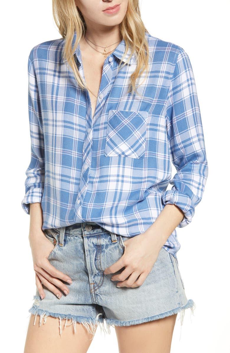 RAILS Hunter Plaid Shirt, Main, color, BLUE JAY WHITE PINK