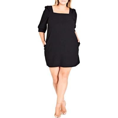 Plus Size City Chic Darling Square Neck Dress, Black