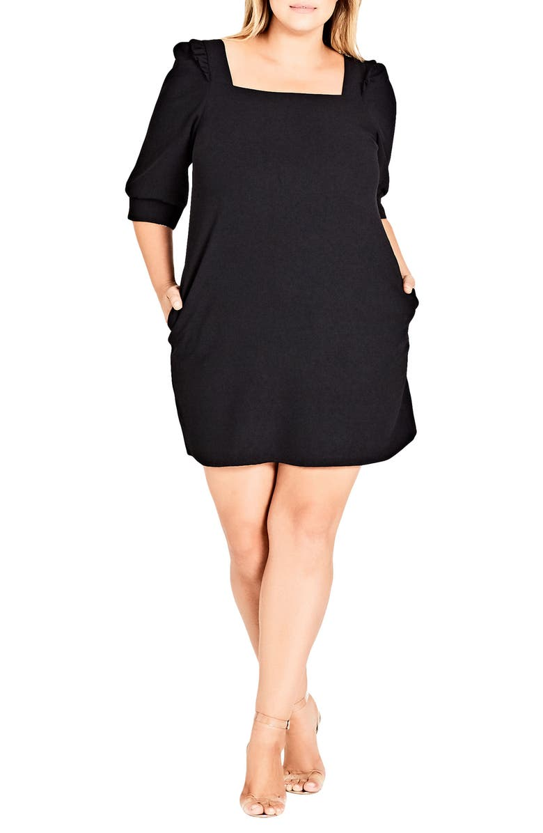 CITY CHIC Darling Square Neck Dress, Main, color, 001
