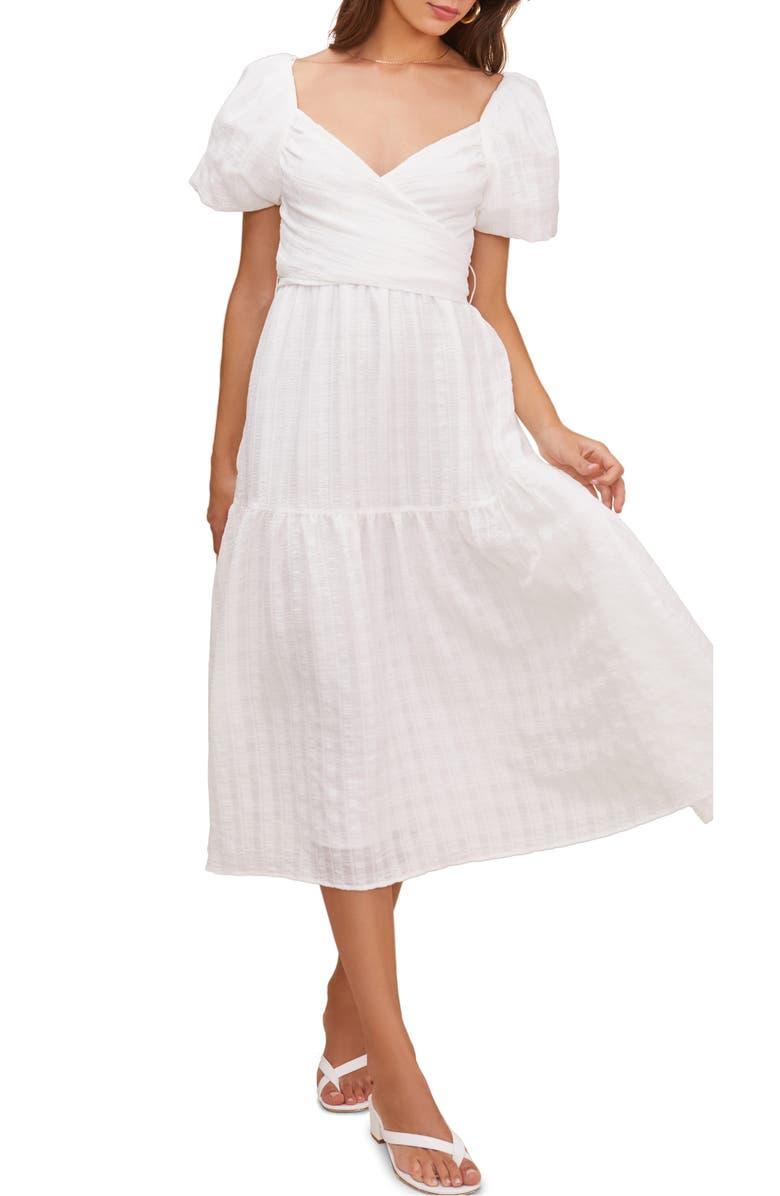 ASTR THE LABEL Sonnet Tie Back Midi Dress, Main, color, WHITE