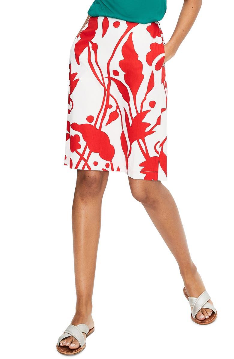 BODEN Vine Print Cotton Skirt, Main, color, 904