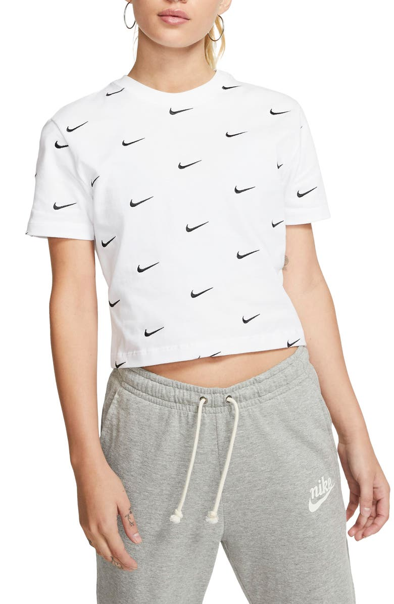 NIKE Embroidered Swoosh Crop Tee, Main, color, WHITE