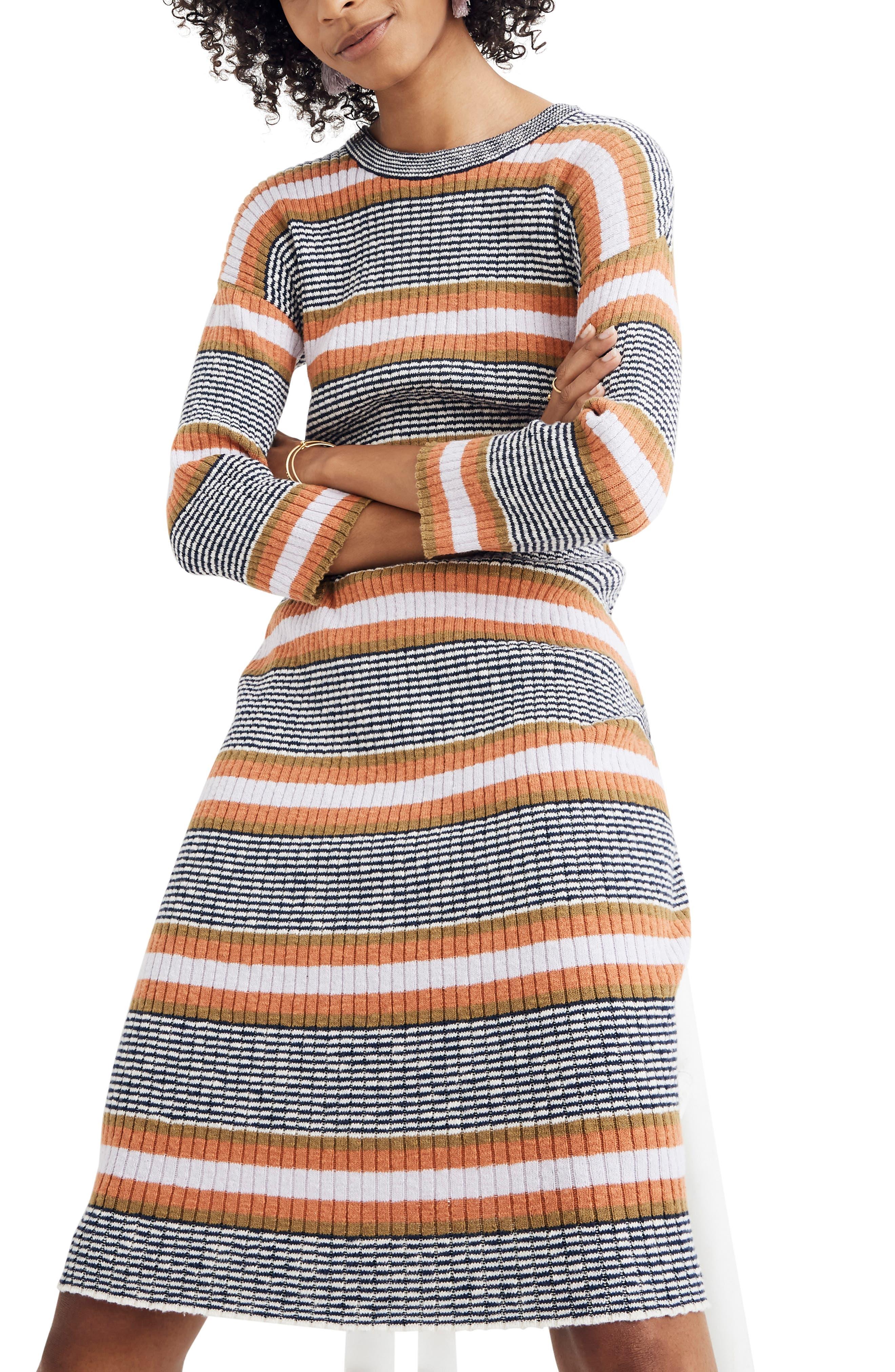 Madewell Stripe Sweater Dress, White