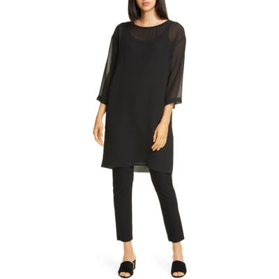 Eileen Fisher Ballet Neck Silk Shift Dress, Black