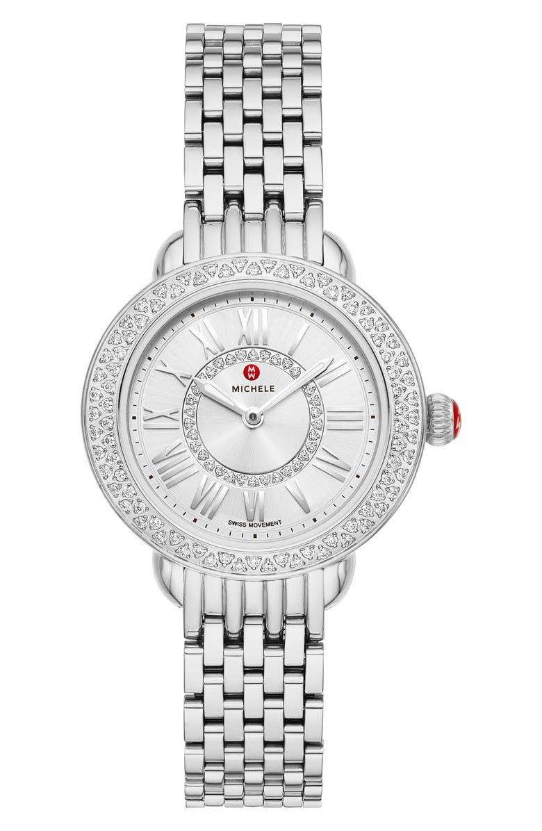 MICHELE Serein Diamond Bracelet Watch, 28mm, Main, color, SILVER